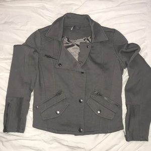 Sparkle & Fade Knit Moto Jacket in Grey